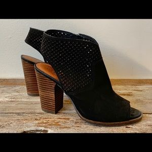 Lucky Brand black cut out open toe heeled booties